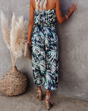Positive Vibes Strapless Smocked Jumpsuit