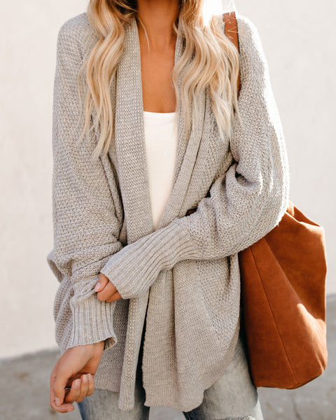 Power Of Love Knit Dolman Cardigan - Heather Grey
