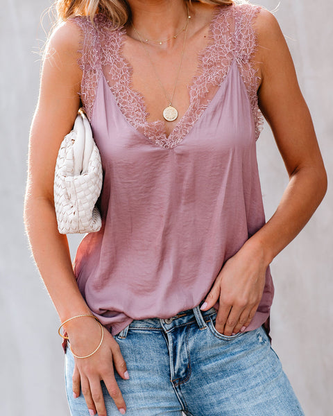 Power Of Love Lace Cami Tank - Dusty Mauve