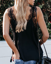 Power Of Love Lace Cami Tank - Washed Black