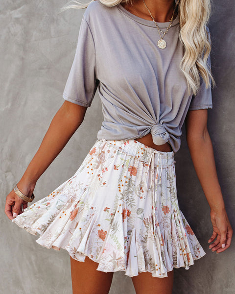Prance Around Floral Ruffle Mini Skirt