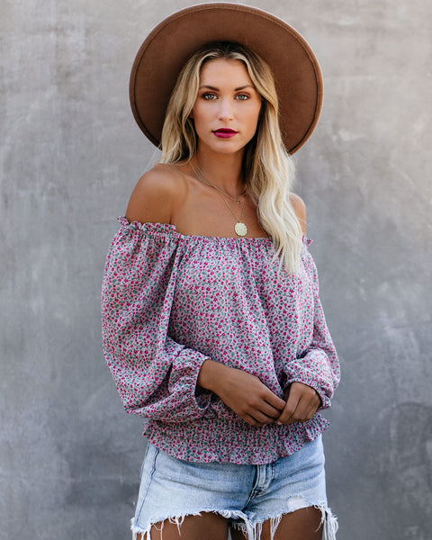 Pre-Fall Off The Shoulder Floral Smocked Blouse
