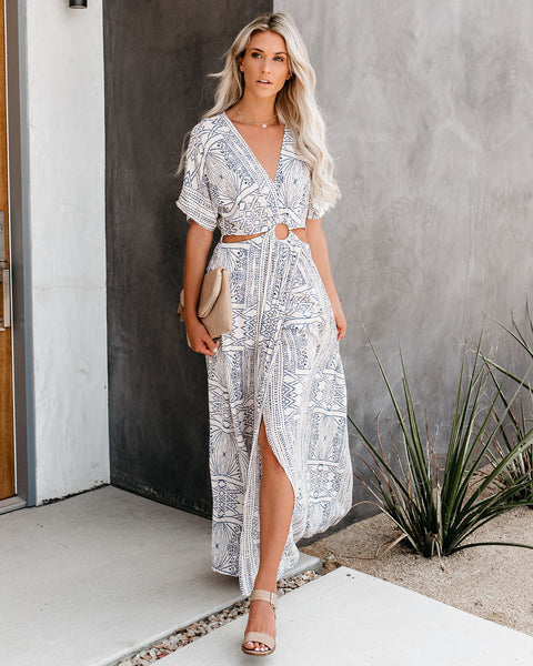 Pretty Freckles Cut Out Printed Maxi Dress