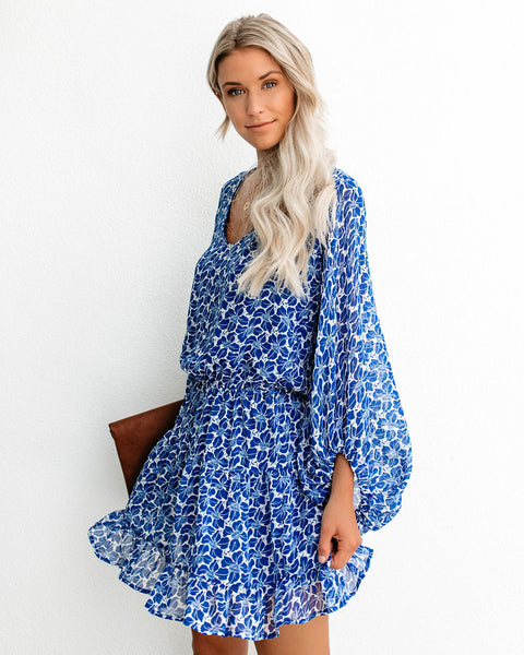Pretty Petals Balloon Sleeve Tiered Ruffle Dress