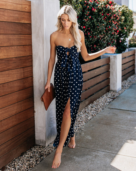 Pretty Woman Strapless Polka Dot Maxi Dress
