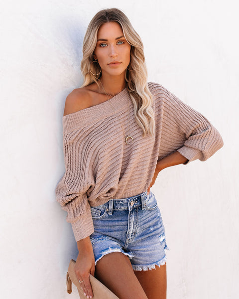 Principle Cotton Blend Off The Shoulder Cropped Sweater
