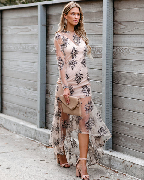 Prominent High Low Lace Maxi Dress