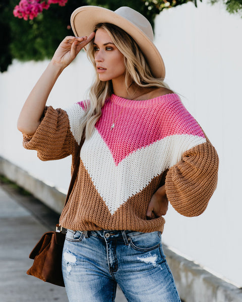 Prospect Park Chevron Knit Sweater - Pink/Cream - FINAL SALE