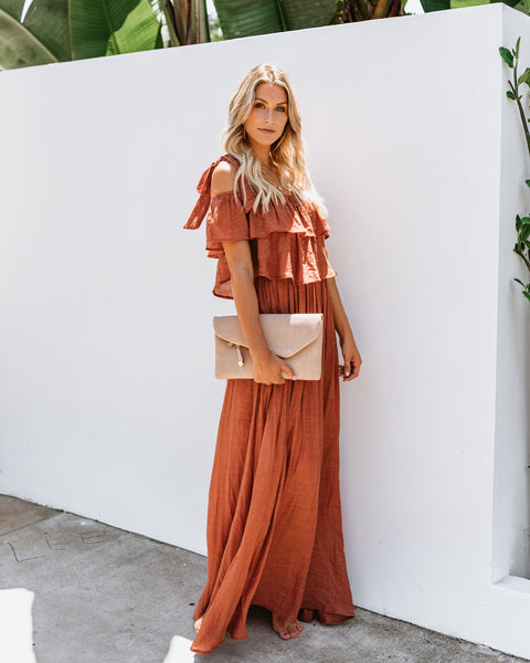 Prosperity Pocketed Tie Maxi Dress - Terracotta
