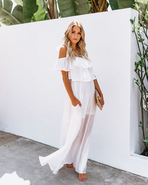 Prosperity Pocketed Tie Maxi Dress - White