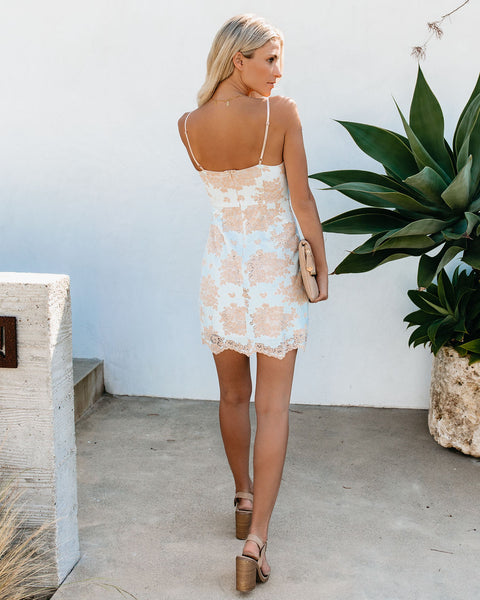 Provocateur Lace Dress - Light Blue/Nude