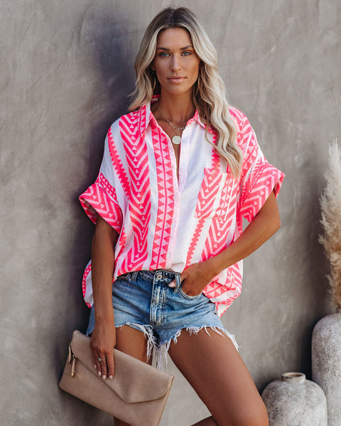 Provo Cotton Blend Button Down Top