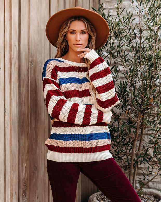 Psyche Cotton Blend Striped Sweater