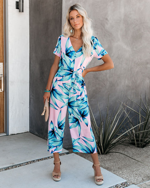 Psychic Palm Button Down Tie Jumpsuit - FINAL SALE