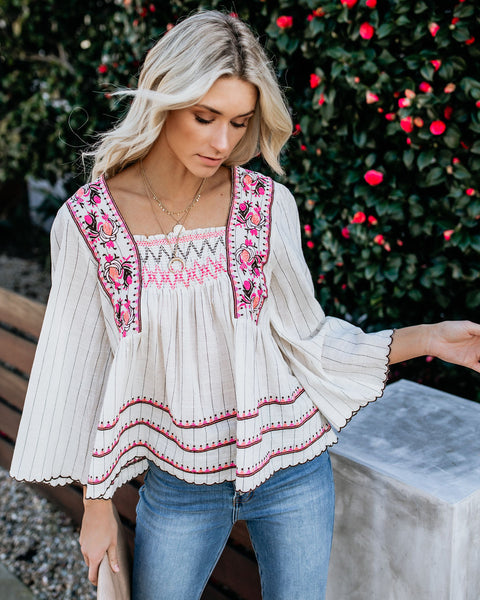Puebla Embroidered Cotton Babydoll Top