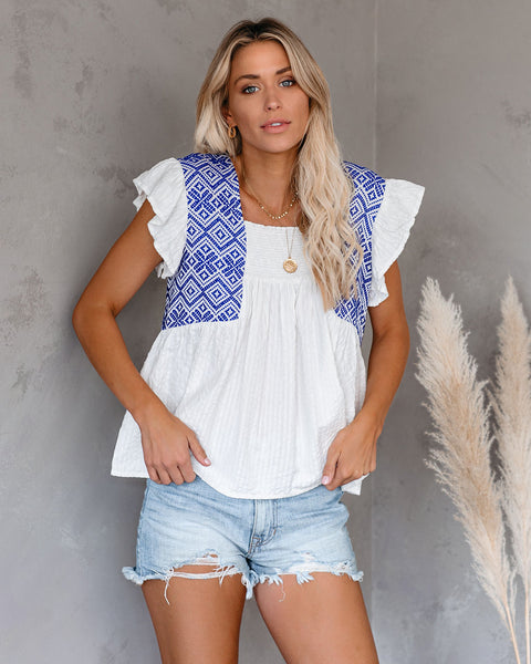 Puerto Vallarta Cotton Blend Smocked Babydoll Top