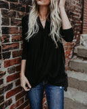 Pull It Together Drape Top - Black