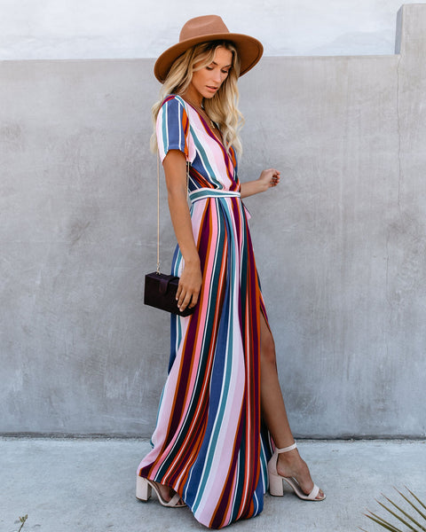 Pumped Up Bardot Wrap Maxi Dress