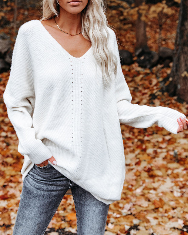 Pumpkin Spice Cotton Blend Tunic Sweater - Ivory