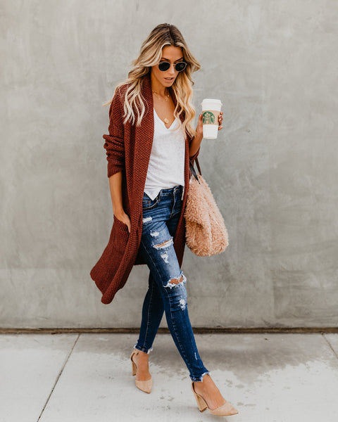Pumpkin Spice Pocketed Knit Cardigan