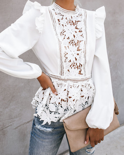 Pursuit Of Being Crochet Lace Peplum Blouse