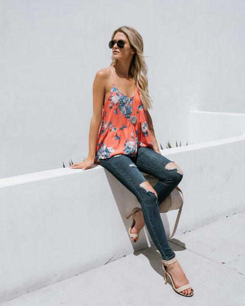 Pushing Petals Tie Tank - Coral Multi