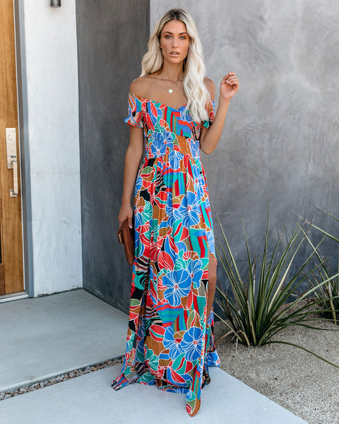 Put It In Print Smocked Slit Maxi Dress