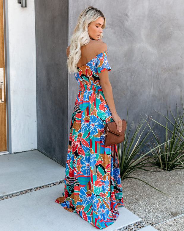 Put It In Print Smocked Slit Maxi Dress view 2
