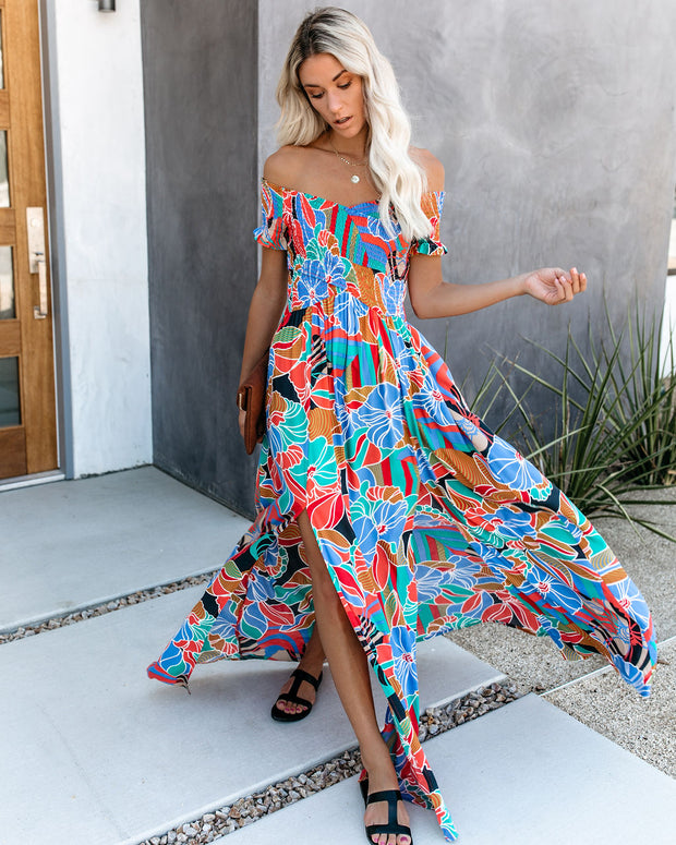 Put It In Print Smocked Slit Maxi Dress view 7