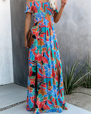 Put It In Print Smocked Slit Maxi Dress view 6