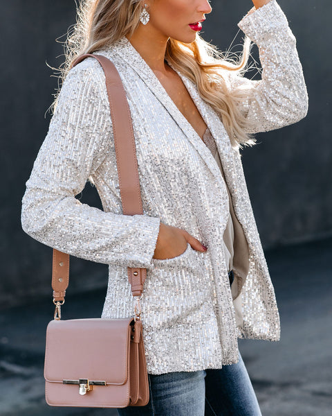 Put On The Glitz Pocketed Sequin Blazer
