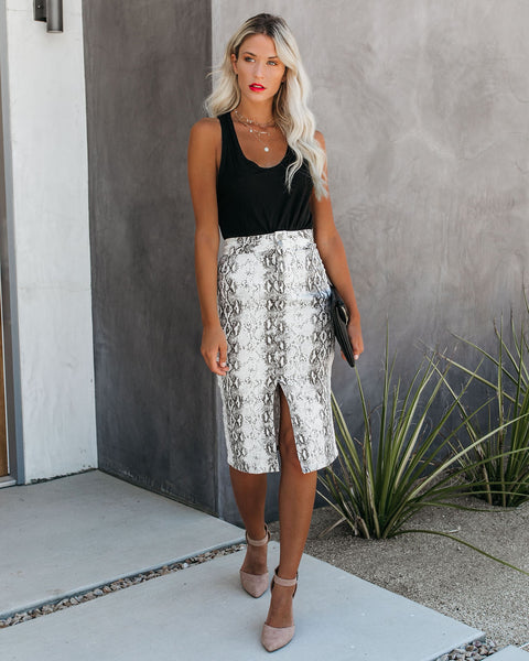 Python Cotton Pocketed Pencil Skirt