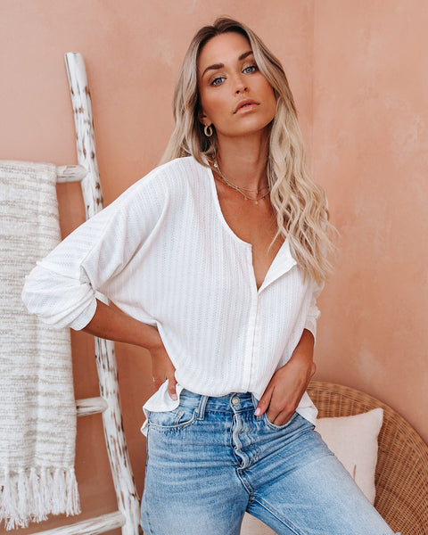 Quade Hook + Eye Knit Top - White