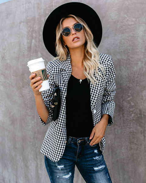 Qualified Pocketed Checkered Blazer