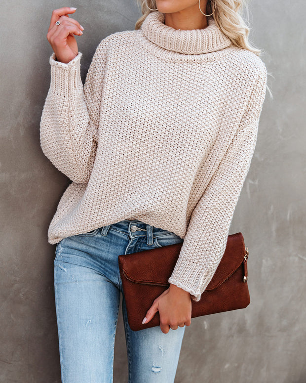 Quay Turtleneck Knit Sweater - Beige