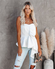 Queen Of Hearts Strapless Statement Top - White - FINAL SALE