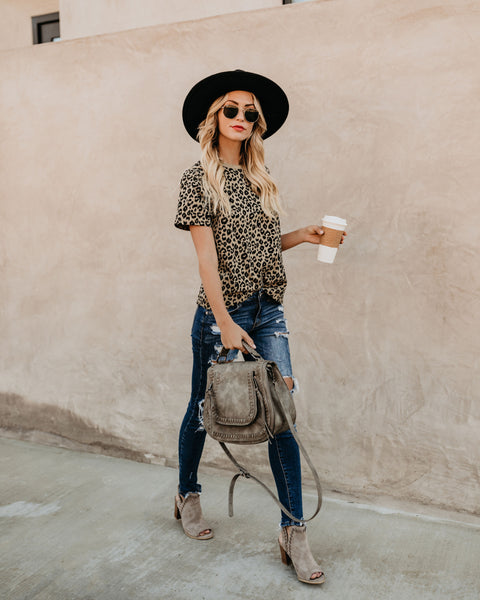 Quick Like A Cat Cheetah Cotton Tee - Thyme