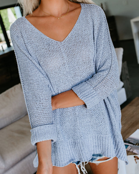 Quincy Knit Sweater - Ice Blue