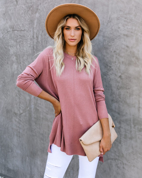 PREORDER - Quintessential Knit Tunic Sweater - Dusty Rose