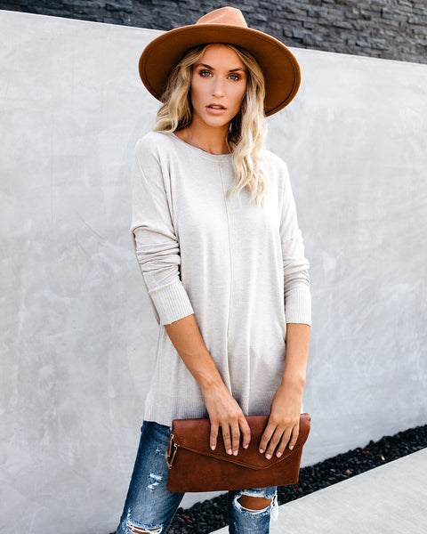PREORDER - Quintessential Knit Tunic Sweater - Taupe