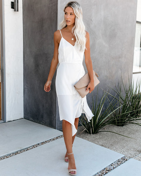 Radiance Ruched Satin Midi Dress - Off White