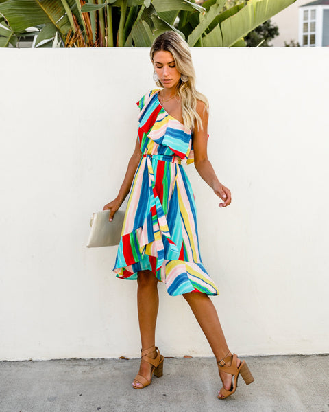 Rainbow Bright One Shoulder Dress - FINAL SALE