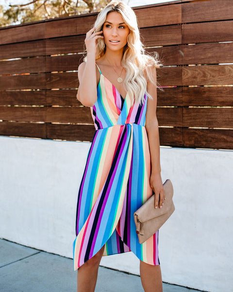 Rainbow Reef Twist Midi Dress