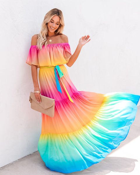 PREORDER - Rainbow Skies Off The Shoulder Tiered Maxi Dress