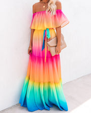 Rainbow Skies Off The Shoulder Tiered Maxi Dress - FINAL SALE