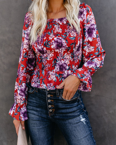 Rain Is Falling Floral Smocked Top - FINAL SALE