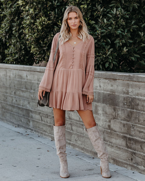 Rana Button Down Crochet Babydoll Dress - Blush