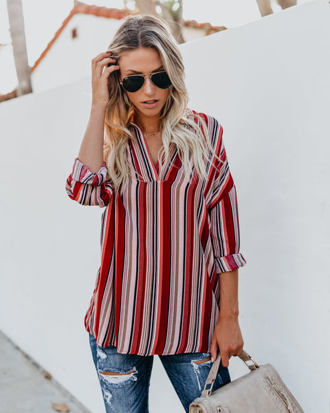 Rancho Rodeo Striped Blouse - Red
