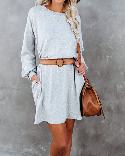 Randy Pocketed Long Sleeve Knit Dress - Heather Grey