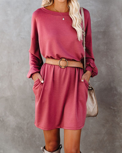 Randy Pocketed Long Sleeve Knit Dress - Marsala